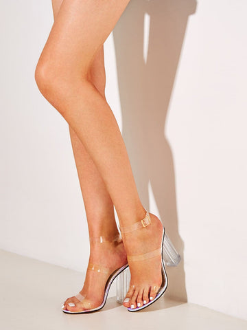 Open Toe Clear Ankle Strap Chunky Heels