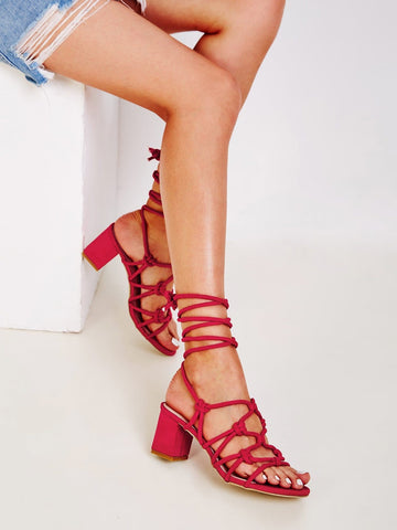 Red Open Toe Knotted Tie Leg Block Heels