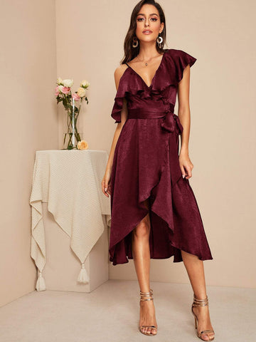 Burgundy Ruffle Trim Asymmetrical Neck Wrap Knotted Satin Dress