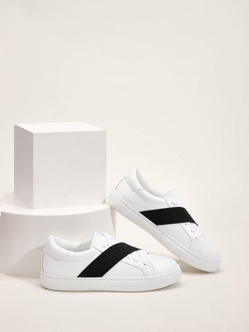 Black and White Round Toe Two Tone Lace-up Front Sneakers