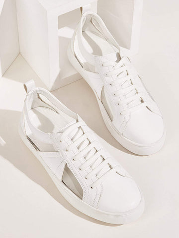 White Round Toe Lace-up Front Low Top Sneakers