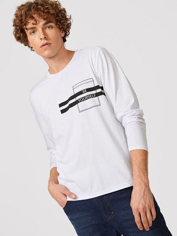 White Round Neck Letter Print Long Sleeve Tee T-Shirt