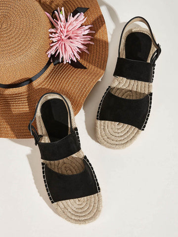 Black Open Toe Buckle Strap Slingback Espadrille Sandals