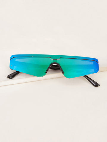 Rimless Flat Top One Piece Sunglasses