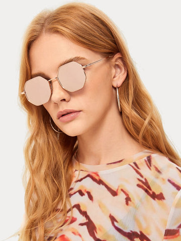 Pink Metal Polygon Frame Mirror Lens Sunglasses