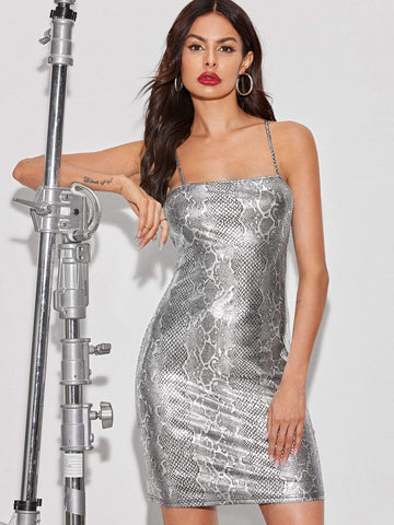 Grey Silver Sleeveless Snakeskin Print Metallic Slip Dress