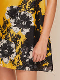 Yellow Round Neck Floral Print Tunic Dress