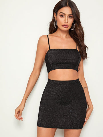 Spaghetti Strap Sleeveless Glitter Crop Cami Top & Bodycon Skirt Set
