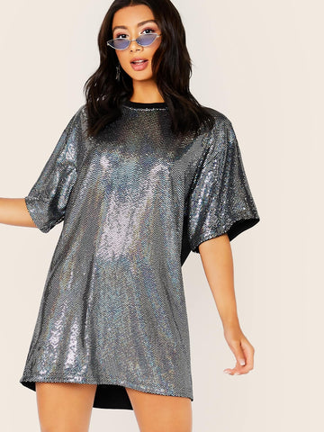 Silver Grey Round Neck Solid Panel Back Sequins Dress