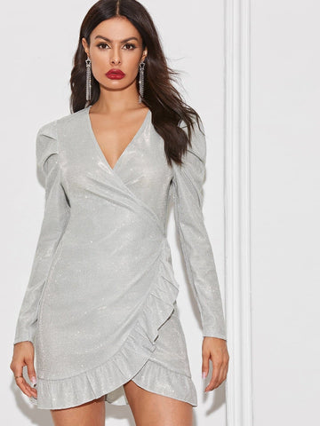Grey Silver V-Neck Solid Ruffle Trim Asymmetrical Hem Wrap Glitter Dress