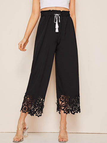 Black High Waist Hollow Out Drawstring Waist Wide Leg Crop Pants