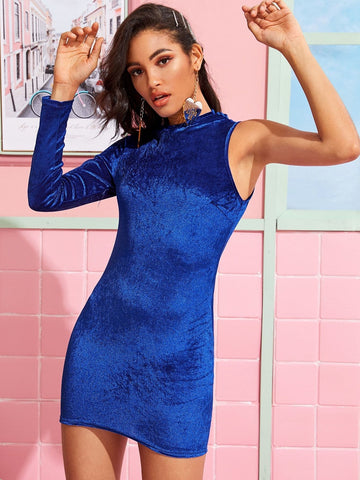 Blue One Sleeve Bodycon Mini Velvet Dress