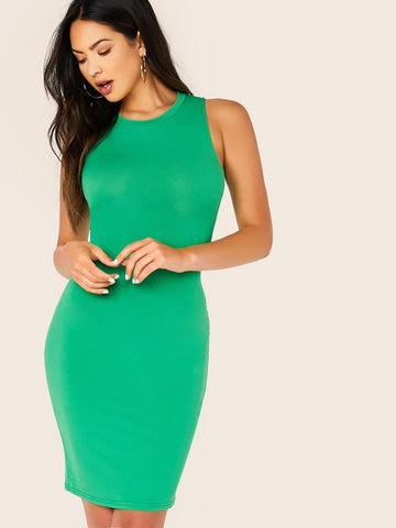 Green Round Neck Sleeveless Solid Bodycon Tank Dress