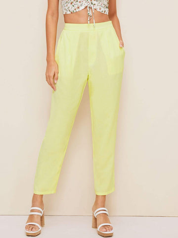 Pastel Yellow High Elastic Waist Slant Pocket Cigarette Pants