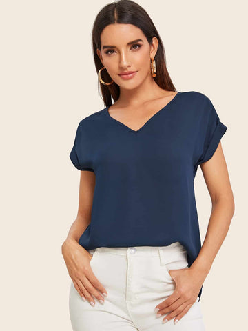 Round Neck Roll Up Sleeve High Low Hem Top