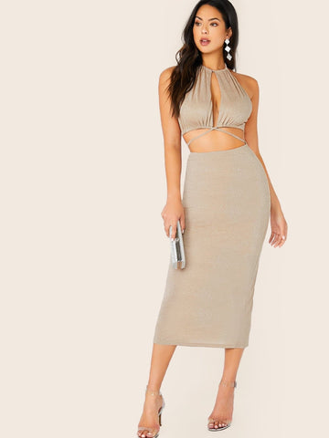 Sleeveless Slim Fit Crisscross Tie Backless Split Hem Glitter Halter Dress