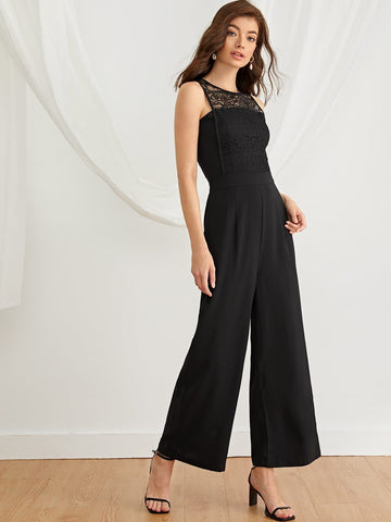 Black Sleeveless Round Neck Contrast Lace Yoke Solid Jumpsuit