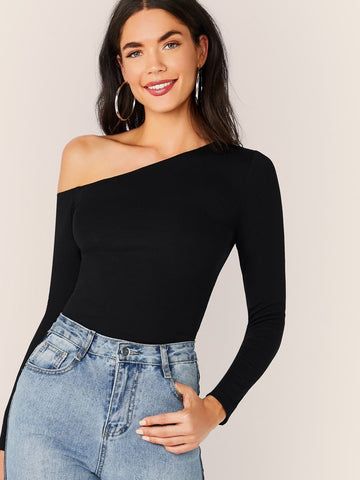 Black Slim Fit Solid Asymmetrical Neck Form Fitted Top