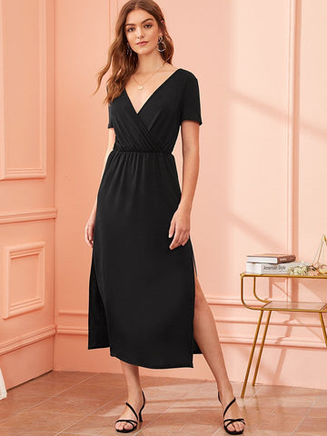 Black V-Neck Lace Panel Slit Hem Surplice Dress