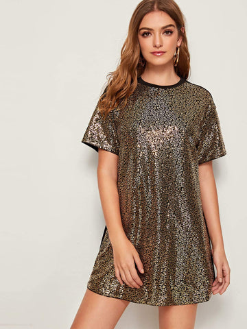 Round Neck Short Sleeve Sequin Panel Front Mini Dress