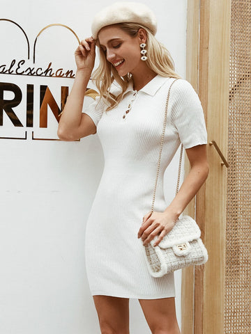 White Slim Fit Button Front Rib-knit Bodycon Sweater Dress