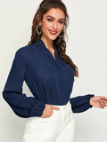 V-Neck Bishop Sleeve Surplice Wrap Solid Top