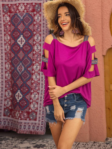 Purple Cold Shoulder Contrast Tape Tee Top