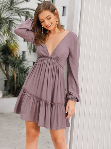 Purple Deep V Neck Frill Trim Backless Dress