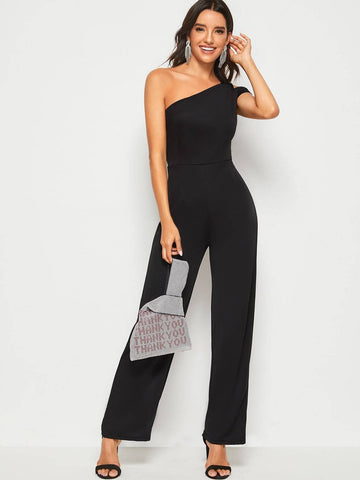 Black Sleeveless Zip Back One Shoulder Solid Jumpsuit