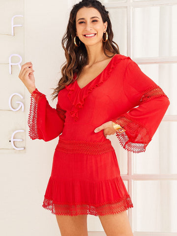 Red V-Neck Solid Ruffle Trim Lace Insert Dress