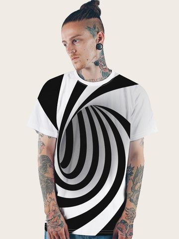 Black and White Round Neck 3D Spiral Print Tee