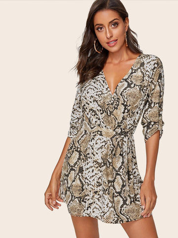 V-Neck Snakeskin Print Tab Sleeve Belted Dress