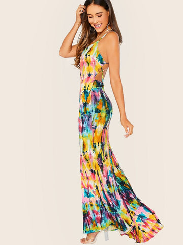 Tie Dye Strappy Sleeveless Multi Colored Maxi Halter Dress