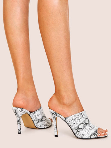 Peep Toe Snakeskin Stiletto Heeled Mules