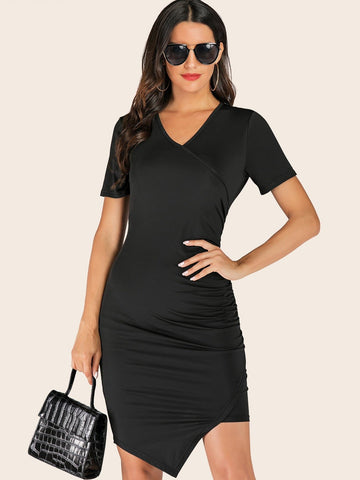 Black V-Neck Solid Ruched Asymmetrical Hem Dress