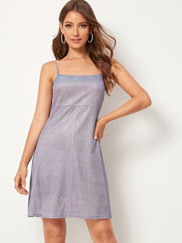 Purple Sleeveless Sparkly Glitter Shift Cami Dress