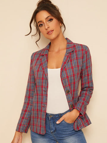 Notched Collar Plaid Print Single Breasted Blazer