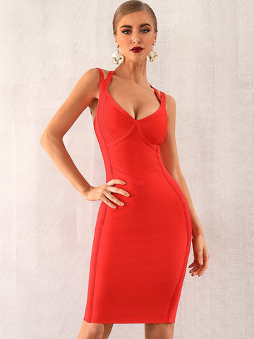 Bright Red Sleeveless Solid Zip Back Bustier Bandage Dress