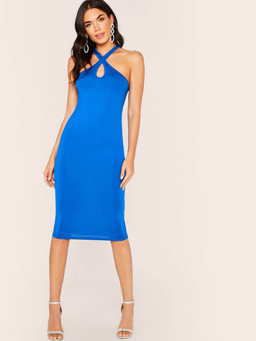 Blue Sleeveless Keyhole Crisscross Neck Pencil Dress