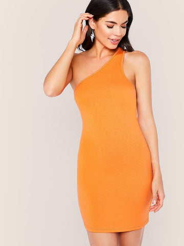 Orange Sleeveless Backless One Shoulder Cutout Back Bodycon Dress