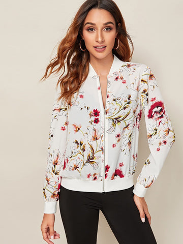 White Stand Collar Zip Up Floral Print Jacket