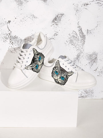 Almond Toe Cat Print Lace-up Front Low Top Sneakers