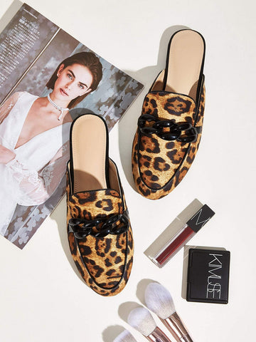 Chain Decor Leopard Print Flat Mules Slippers