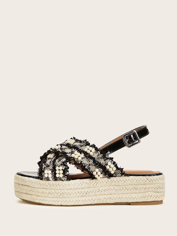 Open Toe Faux Pearl Decor Slingback Espadrille Wedges Sandals