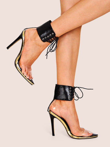 Point Toe Lace-up Front Ankle Cuff Stiletto Heels