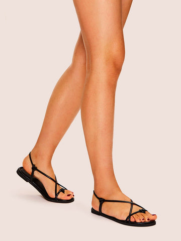 Black Toe Post Strappy Flat Sandals