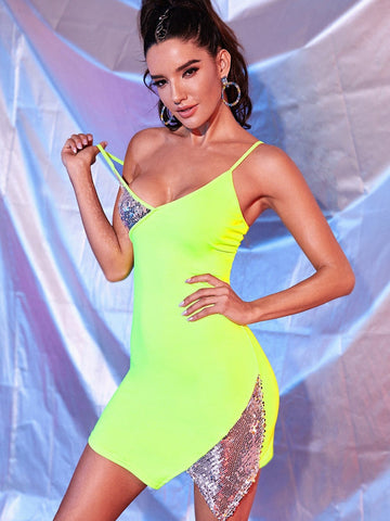 Neon Green Sleeveless Spaghetti Strap Asymmetrical Hem Contrast Sequin Dress