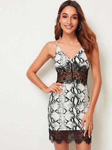 Black and White Spaghetti Strap Sleeveless Contrast Lace Snakeskin Print Cami Dress