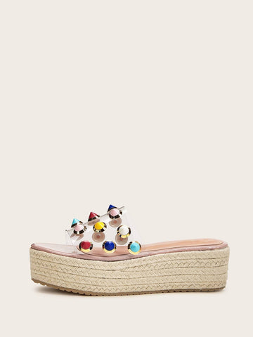 Open Toe Studded Clear Espadrille Sliders