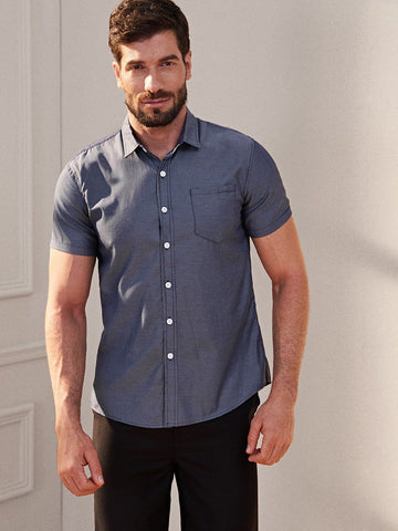 Navy Blue Pocket Front Single Breasted Shirt
